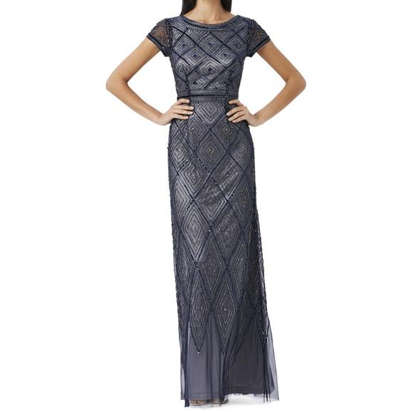 Adrianna Papell Dresses | Diamond Beaded Overlay Gown | Poshmark